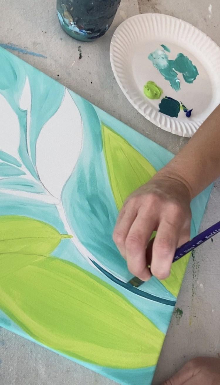 Paint the stem dark teal