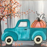 Teal Truck With Pumpkin Painting