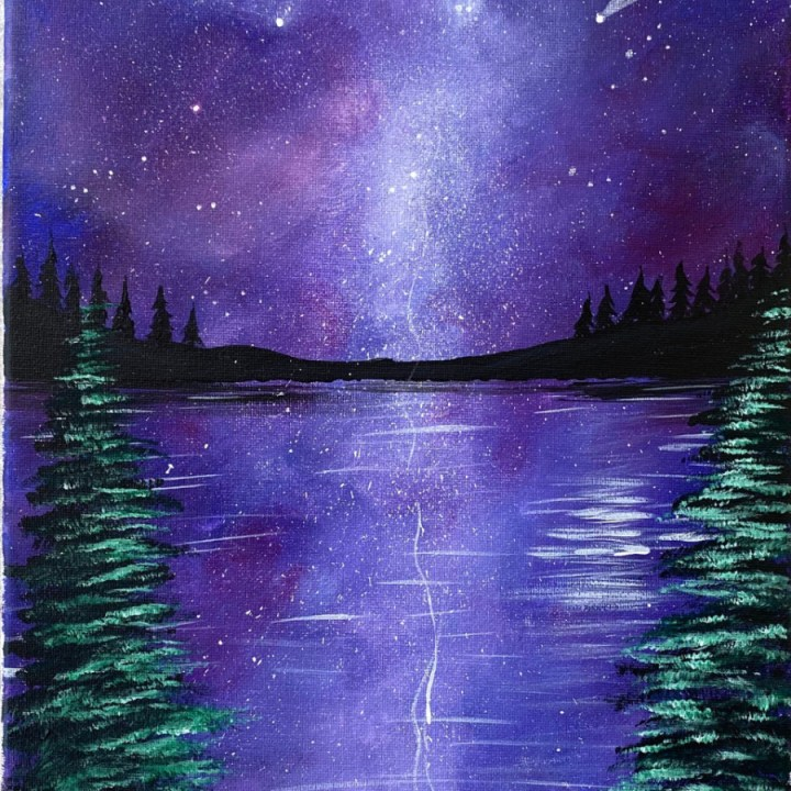 Galaxy Campsite Acrylic Painting Tutorial