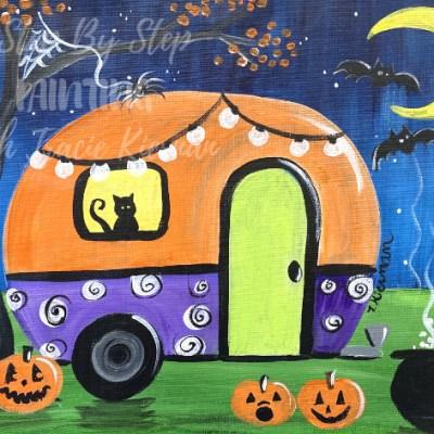 Halloween Vintage Camper Painting