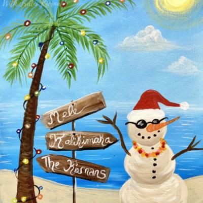 Beach Snowman Acrylic Painting Tutorial