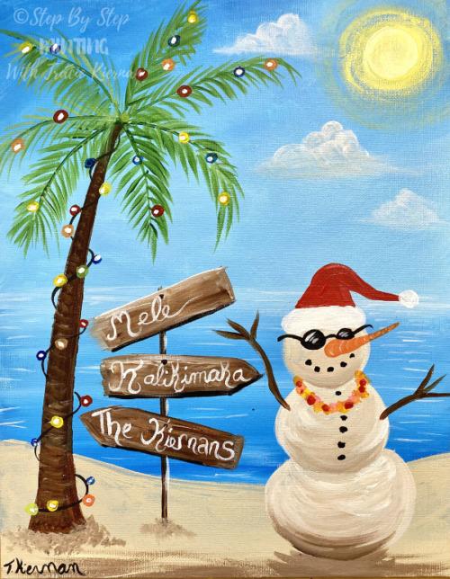 Beach Snowman Painting Tutorial