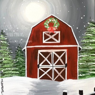 Winter Barn Acrylic Painting Tutorial
