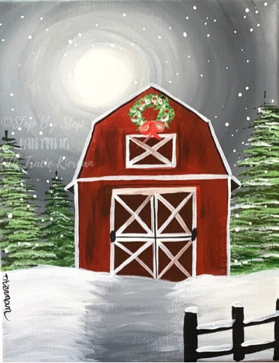 How To Paint A Winter Barn