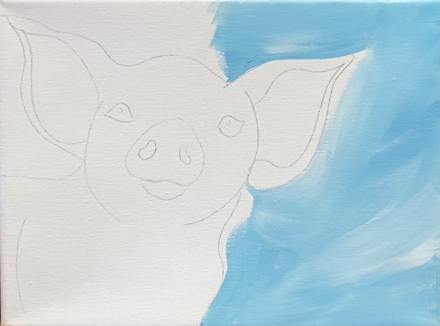 Paint the background for the pig painting.
