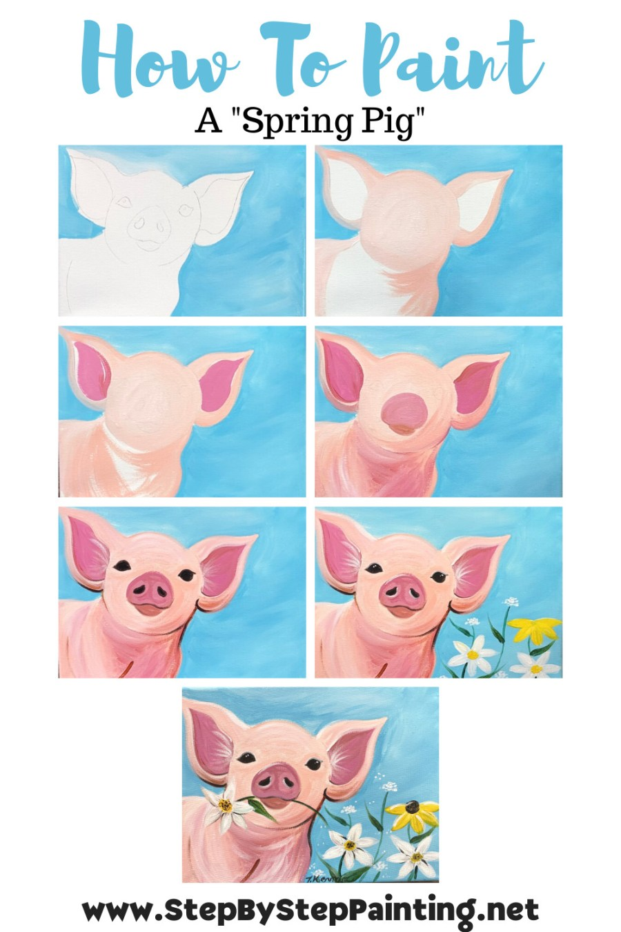 Step by step instructions for how to create a spring pig painting with acrylics.