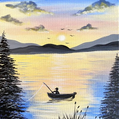 Fishing Painting With Sunset On Lake