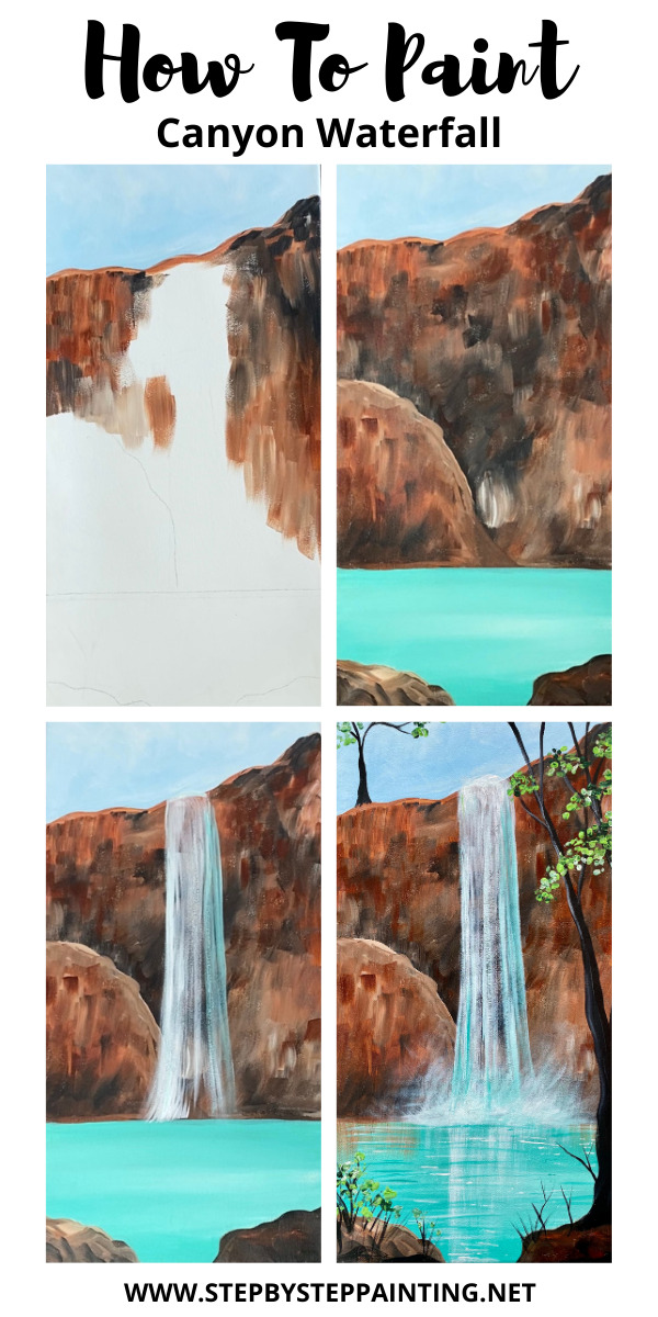 Waterfall painting step by step process photos.