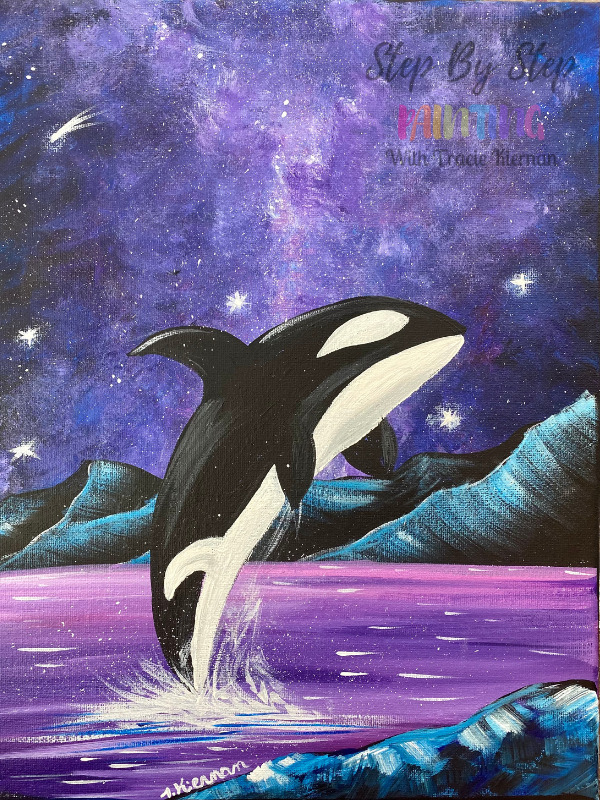 Orca With Galaxy Background