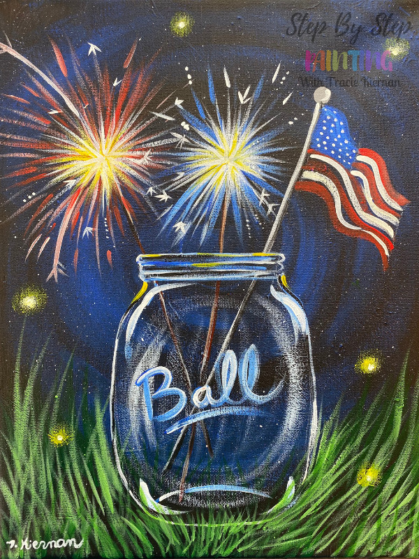 Sparklers In Mason Jar Painting Tutorial