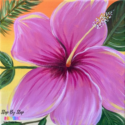 Easy Simple Tropical Hibiscus Painting