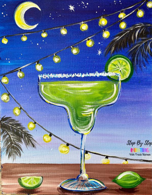 Moonlight Margarita Acrylic Painting Tutorial