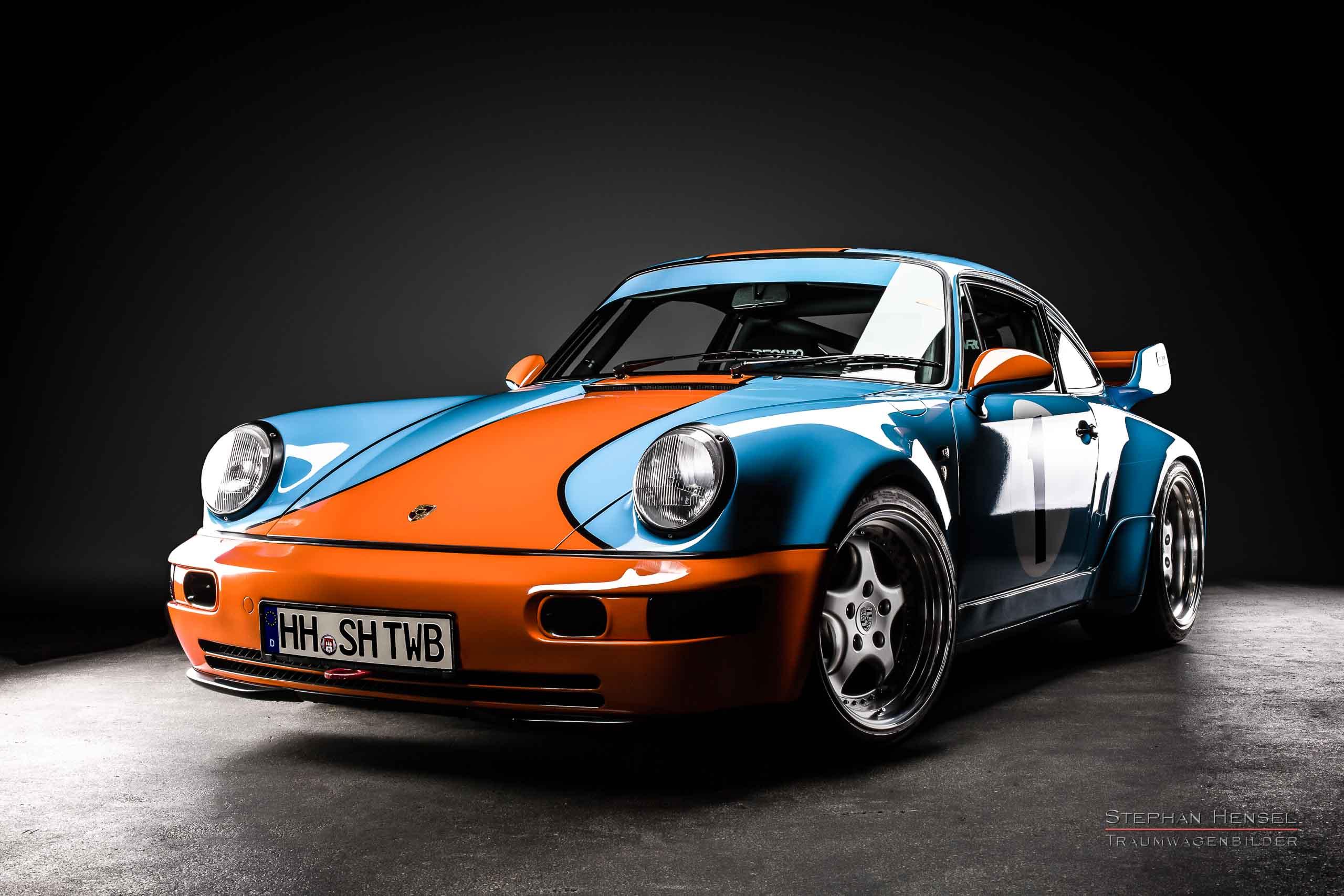 Porsche 964, Ansicht von links vorn, Autofotograf: Stephan Hensel, Oldtimerfotograf, Hamburg