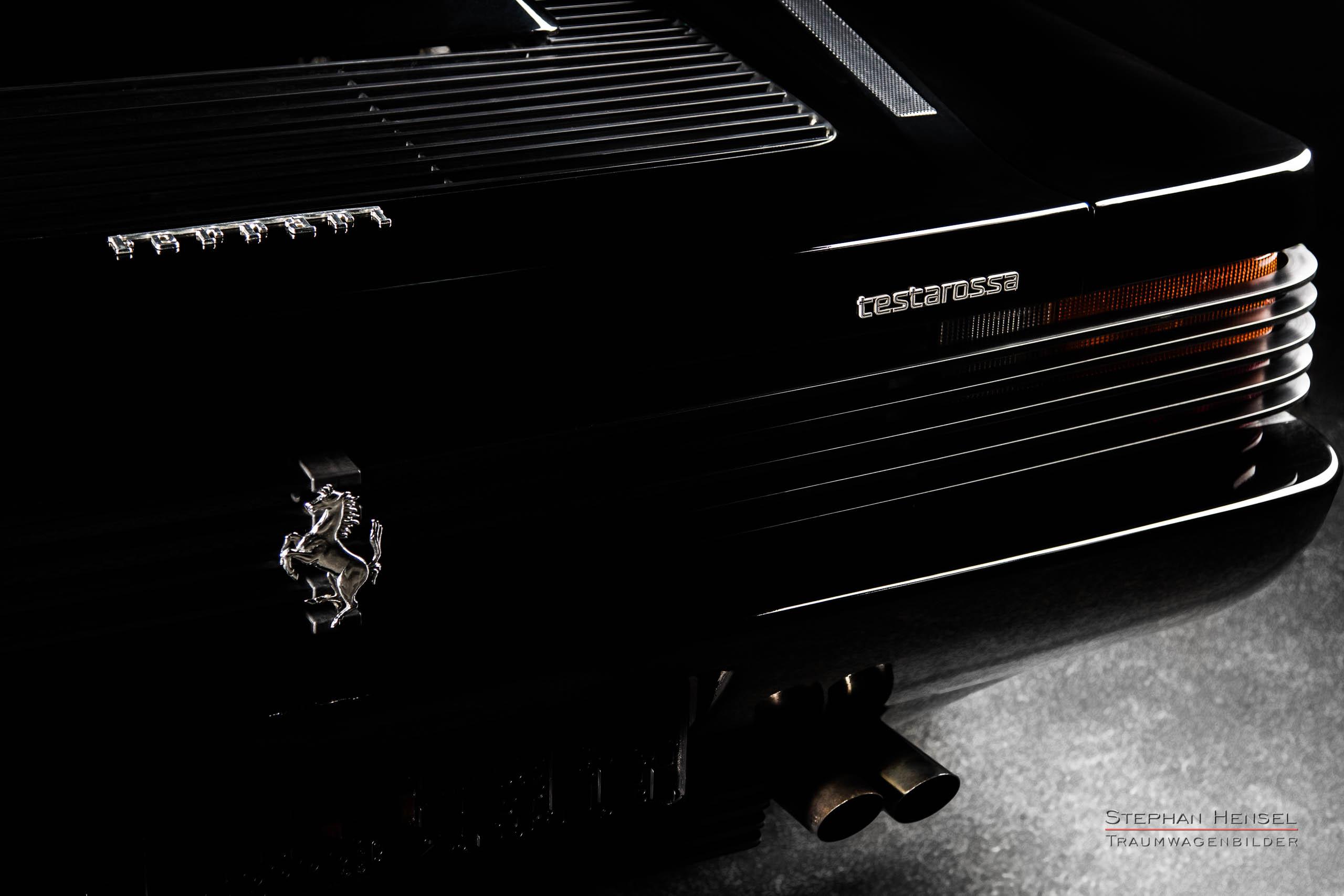 Ferrari Testarossa, Detailansicht Heckpartie rechts, Autofotograf: Stephan Hensel, Oldtimerfotograf, Hamburg