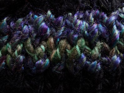 The Hilly Green is a single row between the Hayfield Ripple Yarn