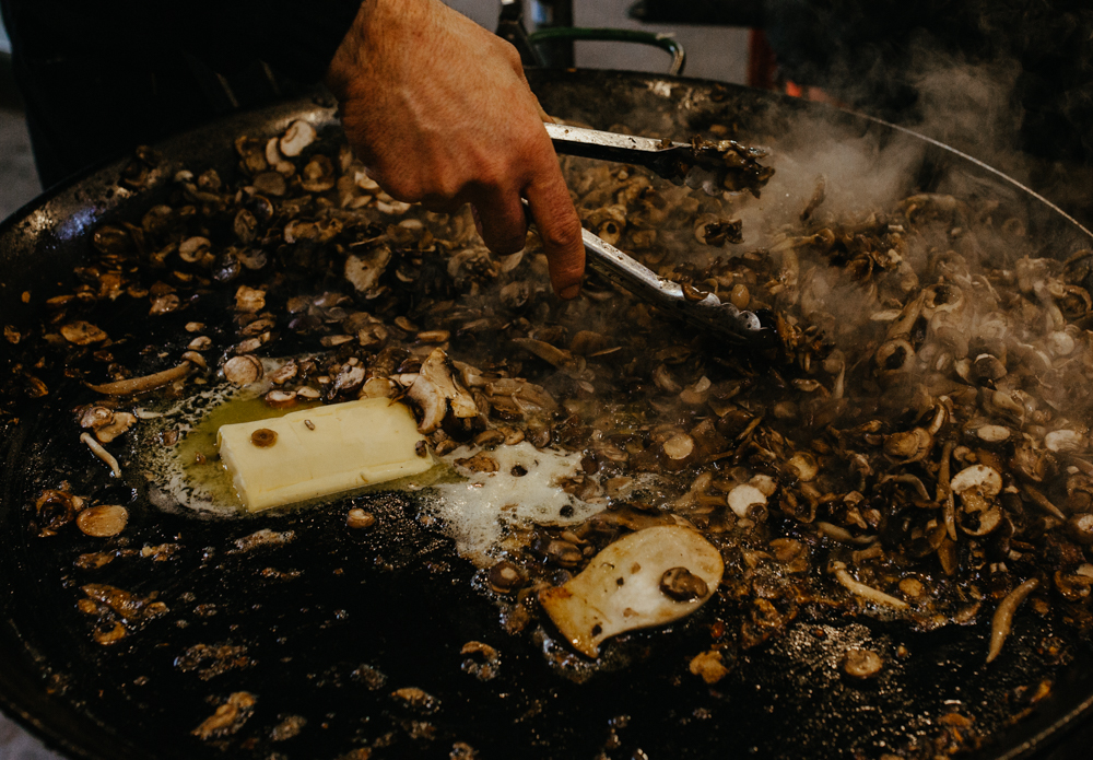Fresh food is being cooked at Borough Market. Picture by Stephanie Green Weddings