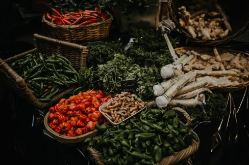 A selection of fresh chillis, turmeric, and ginger at a food stall at London's Borough Market. Picture by Stephanie Green Weddings