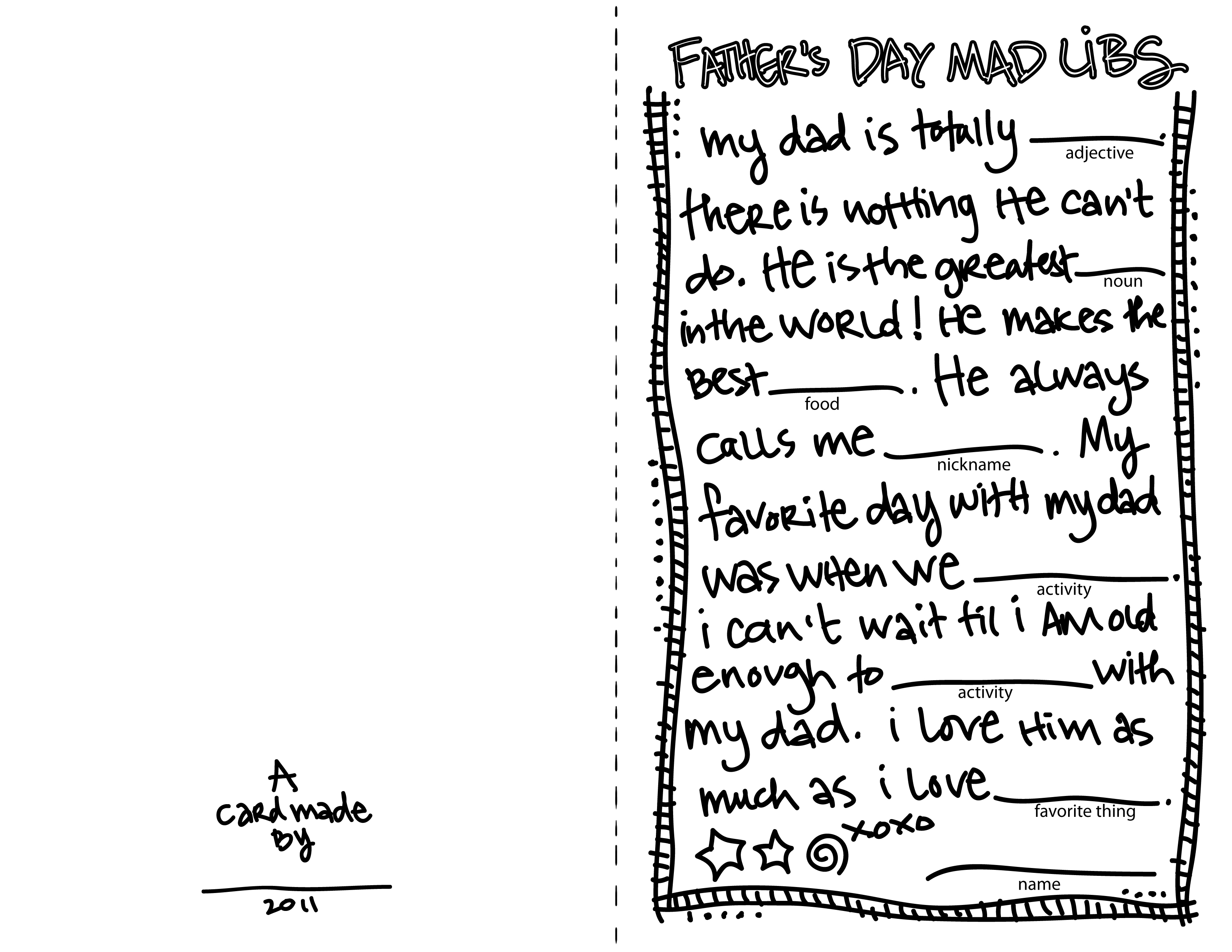 Father S Day Madlibs Card Download