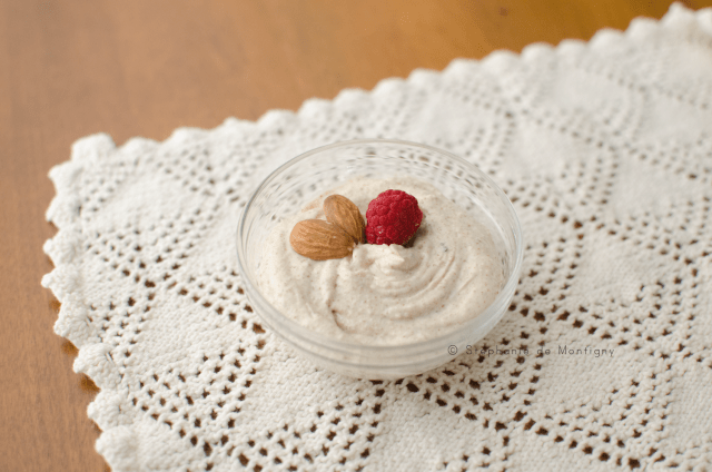 Vanilla Almond Mousse, keto-friendly-dessert-breakfast-high-fat-low-carb-ketogenic-diet-cream-cheese-almondbutter-vanilla-almond-mousse-whipping-heavy-cream-raspberry-garnish-vintage-lace
