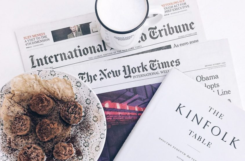 table-food-book-newspaper-new-york-times-international-tribune-kinfolk-magazine