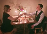 couple date night in flowers tablescape table setting personal chef cooked meal wine candles