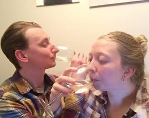365 days of happy project - day 80 - stephanie de montigny - couple goals white wine drinking together fun laughter weirdos