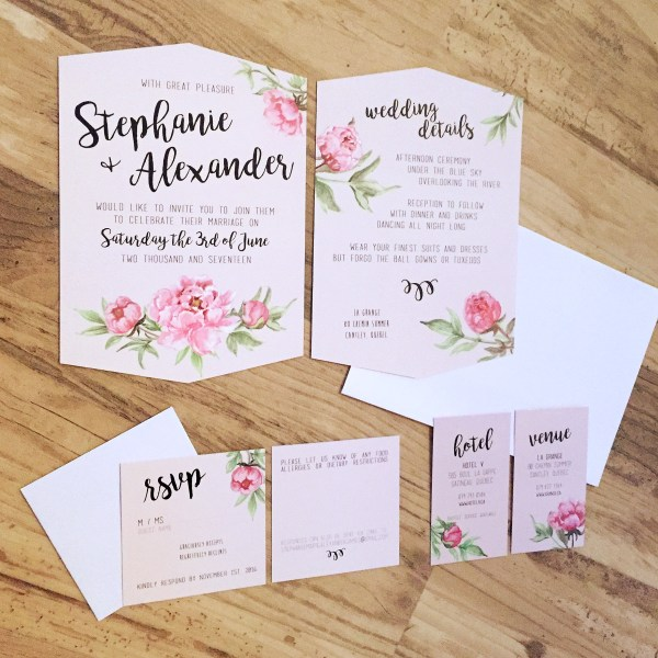 blush peonies invitation suite hand calligraphy, DIY wedding, grange de la gatineau, melissa morrissey photography