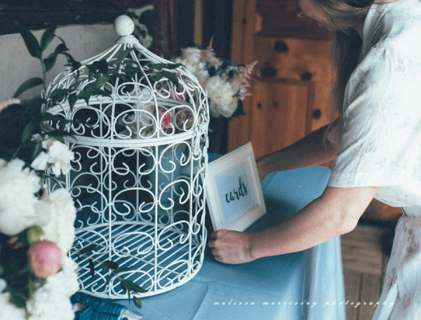 wedding decor birdcage card cage gift table, DIY wedding, grange de la gatineau, melissa morrissey photography