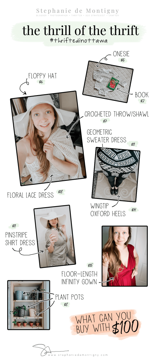 what you get for $100 thrifting haul thrift store finds shopping on a budget infographic