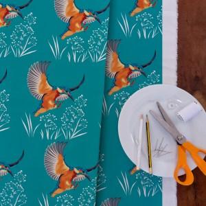 StephanieDesbenoit-fabric-birds-kingfisher-blue
