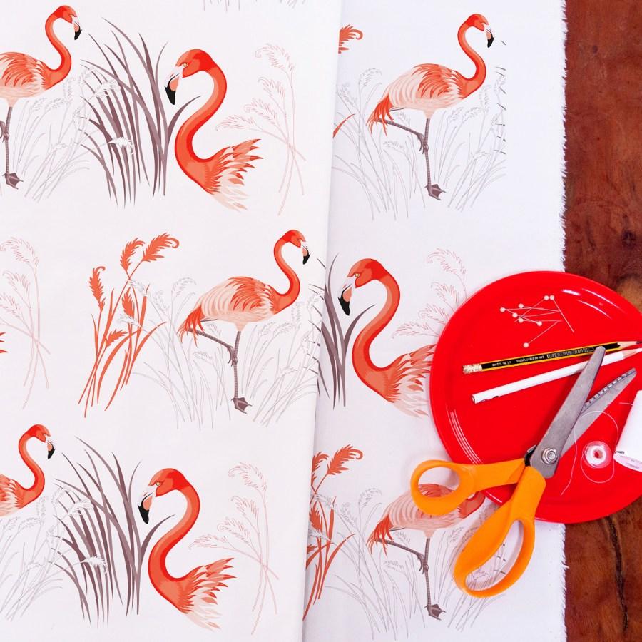 Tissu Flamant rose Collection Les Oiseaux