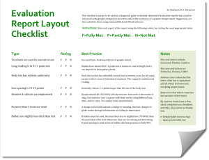 Evaluation report layout checklist evergreen data related releasing the evaluation report thecheapjerseys Choice Image