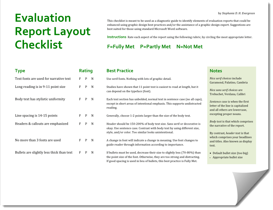 Releasing the Evaluation Report Layout Checklist