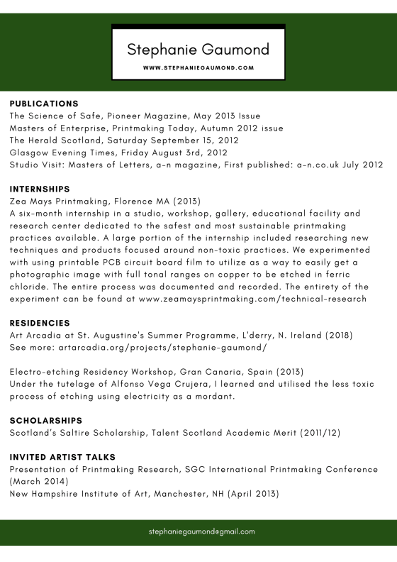 stephanie gaumond artist CV