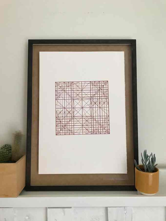 Decussate Screenprint by Stephanie Gaumond. A linear contemporary four layer Screenprint