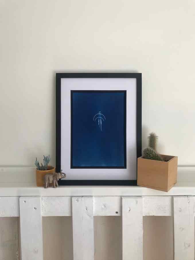 handmade cyanotype featuring 7 different needles