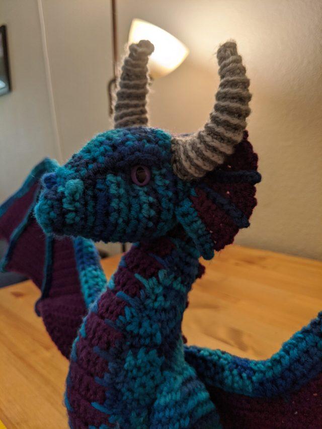 A large crochet dragon