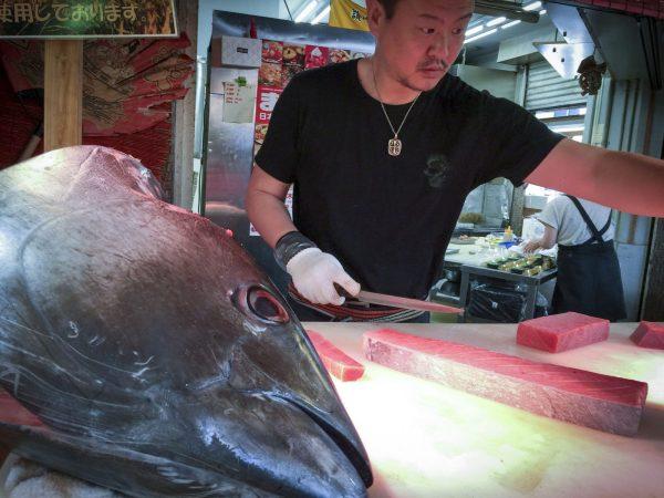 Fresh Toro Sashimi, Kuromon Market, Osaka, Japan