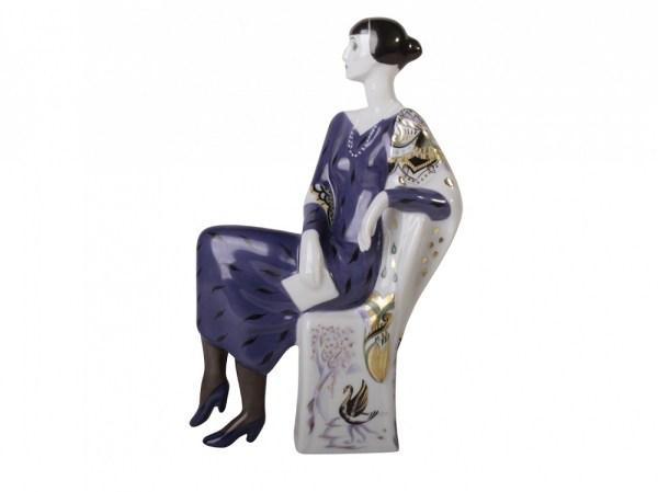 Porcelain lady figurine Anna Akhmatova (sitting)