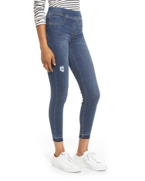Spanx distressed jeans…comfy, easy, flattering. Enough said.