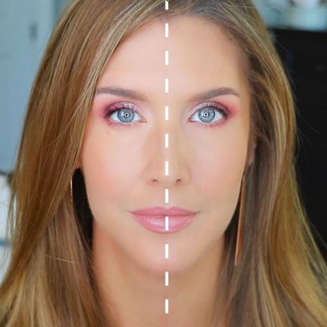 Woman with half face luxury high end and half Drugstore Makeup Dupes