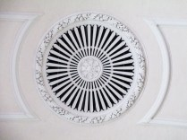 From directly below: detail on Memorial Church ceiling in fresh white