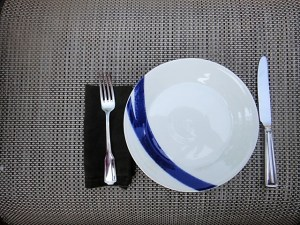 Empty plate at a place setting