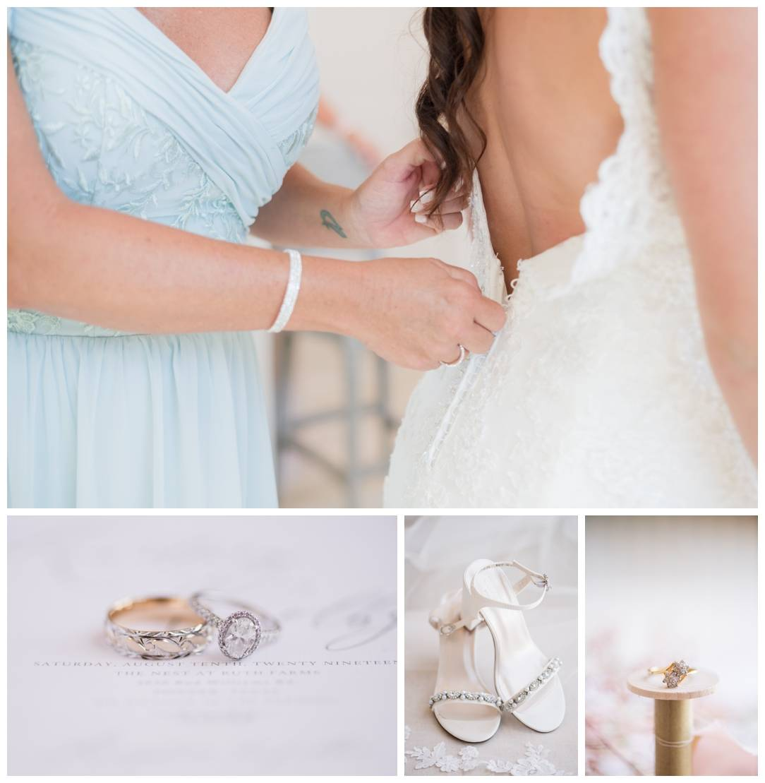 Bridal Details at the nest at ruth farms