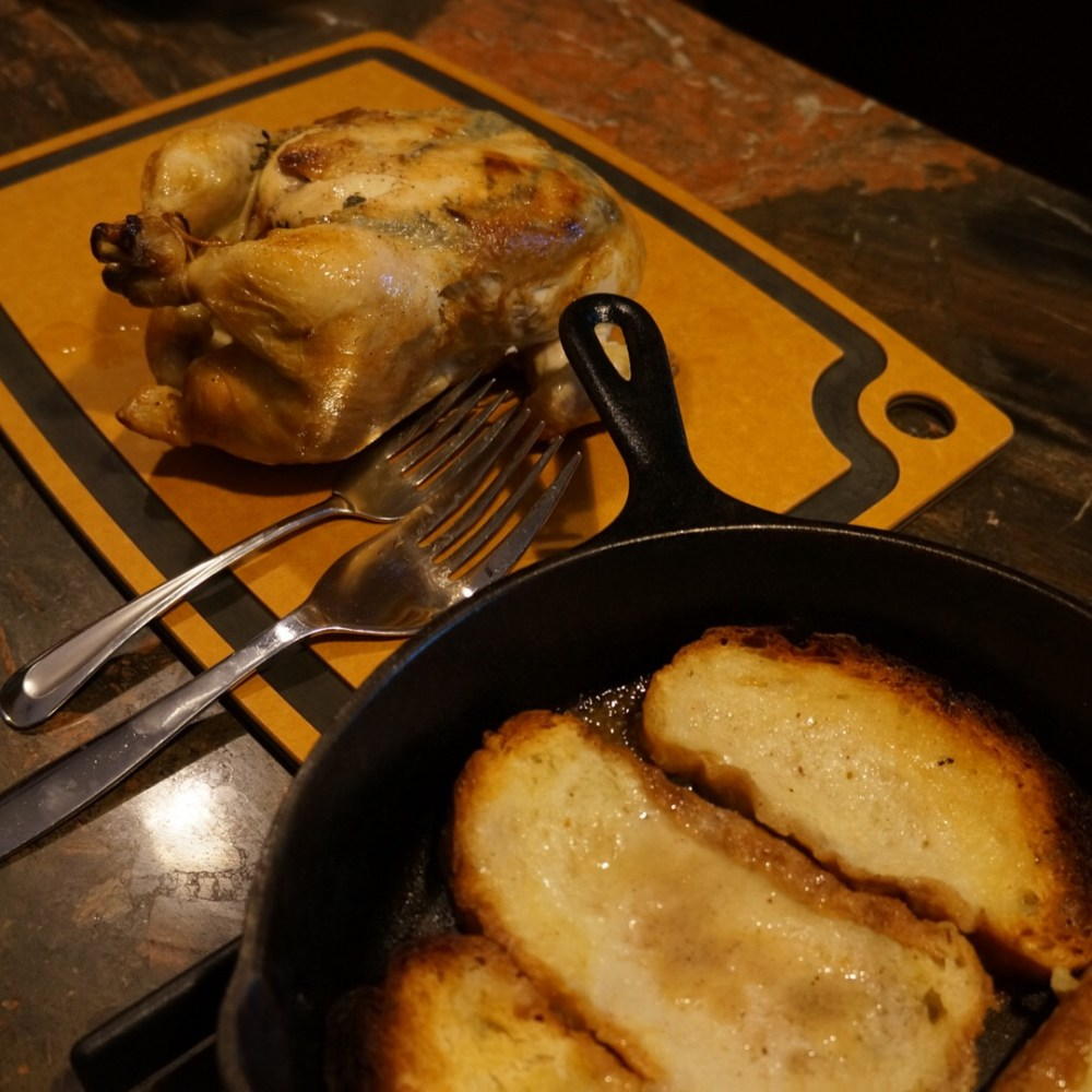 Chicken cooked bread in pan