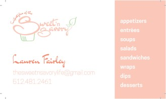 Business card design for Lifestyles of the Sweet and Savory catering service