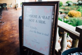 Choose a seat, not a side wedding sign in frame.