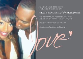 Design for Save-the-Dates, image of couple on gray background with love written in script.