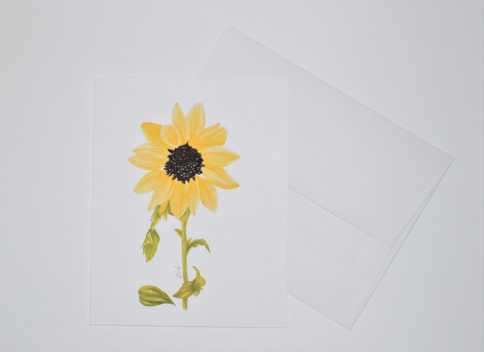Single Sunflower Note Card