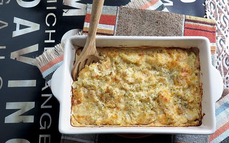 Cauliflower and Cannelli bean mac & cheese